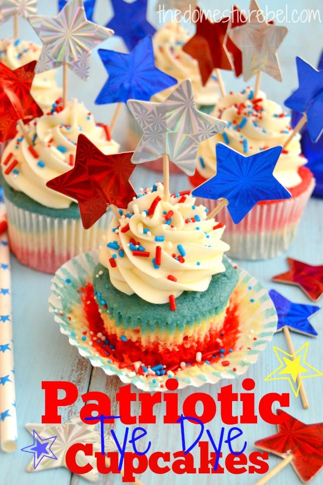 patriotic tie dye cupcakes