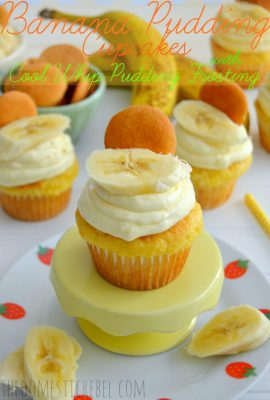 Banana Pudding Cupcakes with Cool Whip Pudding Frosting