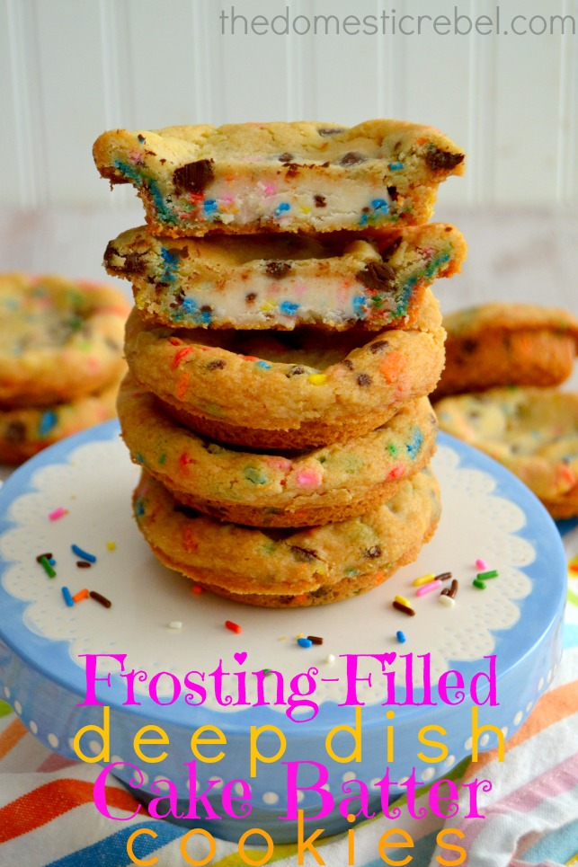 frosting filled deep dish cake batter cookies recipe