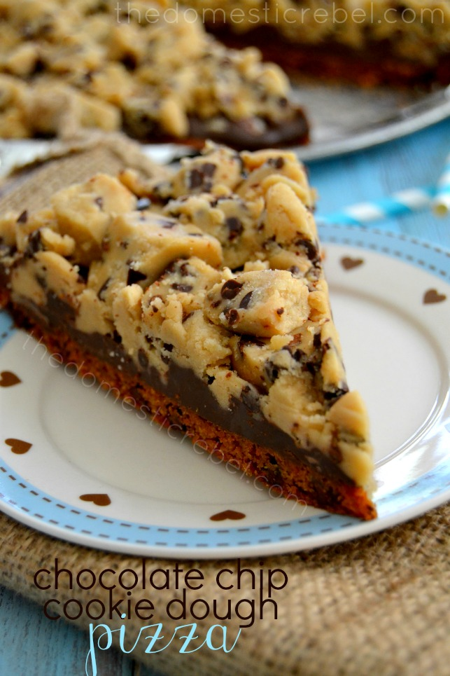 cookie dough pizza on blue and white plate