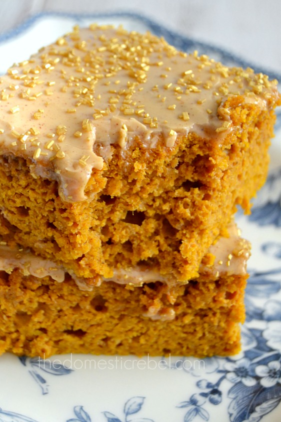 pumpkin snack cake pieces stacked on blue and white plate