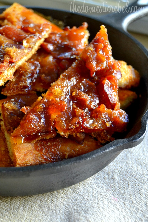 maple caramel bacon crack arranged in a cast iron skillet