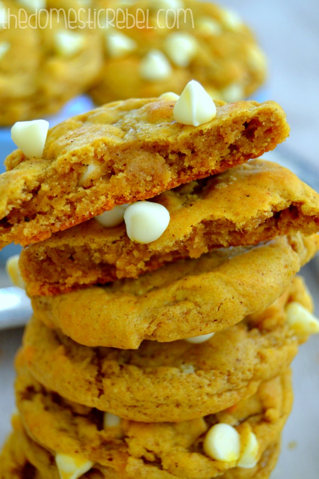 chewy pumpkin chip cookies stacked up close to show texture
