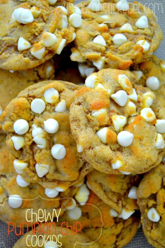 Chewy Pumpkin Chip Cookies arranged in a pile