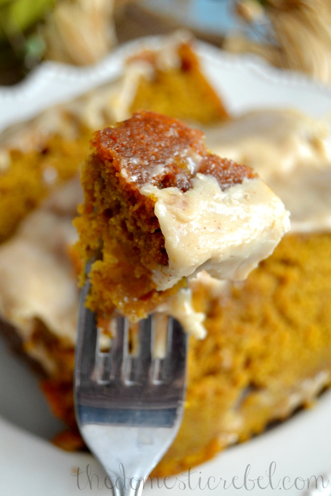 piece of pumpkin bread on a fork