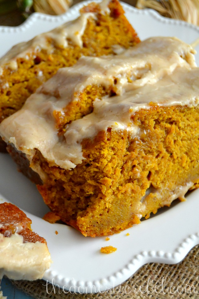 The BEST Pumpkin Bread with Brown Butter Maple Icing   The Domestic ...