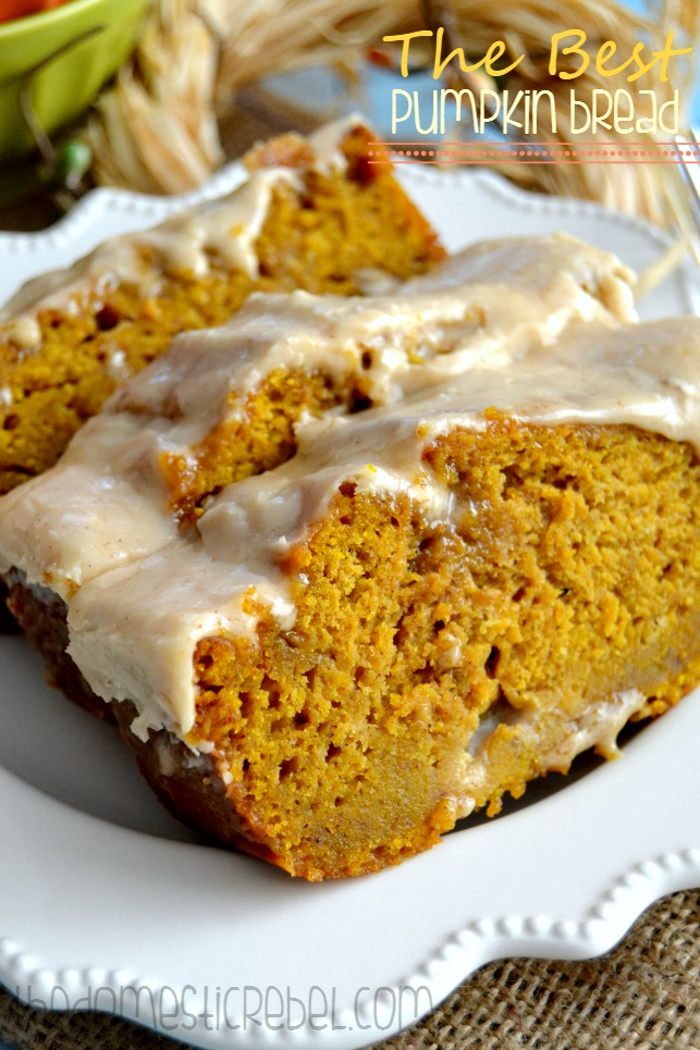 best pumpkin bread with brown butter maple icing