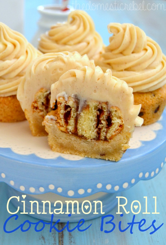 cinnamon roll cookie bites on a blue and white cakestand