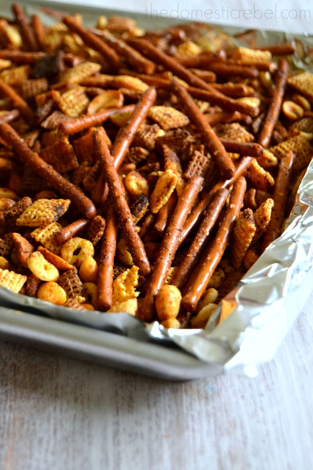 Perfect Chex Mix in a baking pan with foil