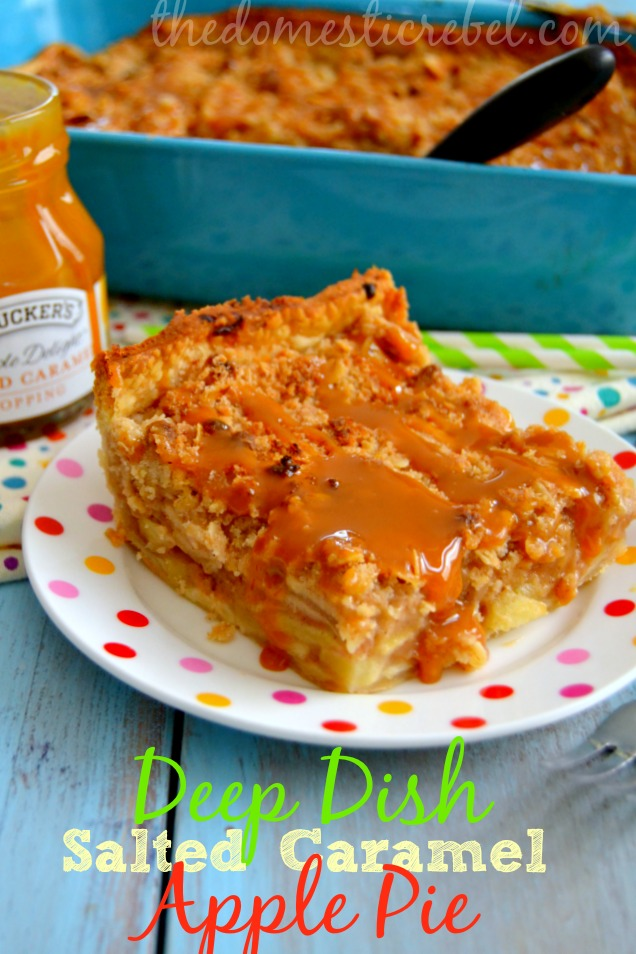 deep dish salted caramel apple pie