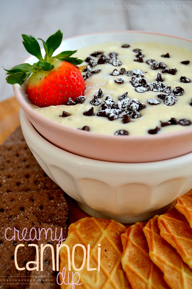 Creamy Cannoli Dessert Dip in a bowl surrounded by cookies