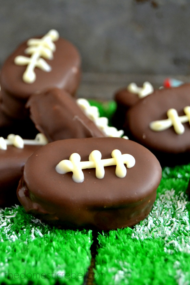PB Cookie Dough Footballs arranged on mini turfs