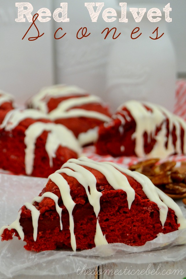 red velvet scones on white background