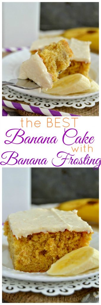 Best Banana Cake with Banana Frosting collage