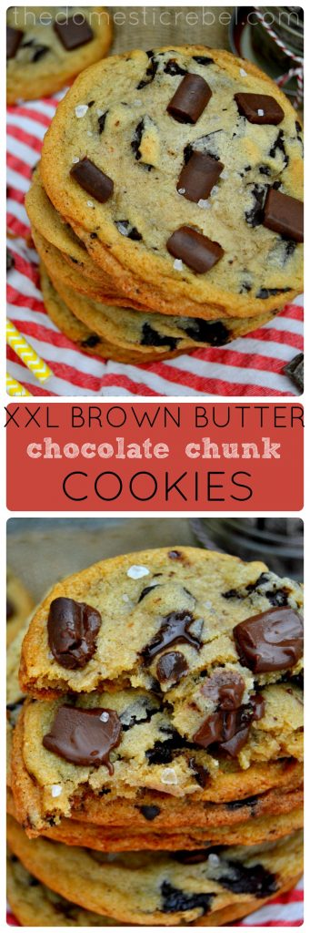 XXL Brown Butter Chocolate Chunk Cookies collage