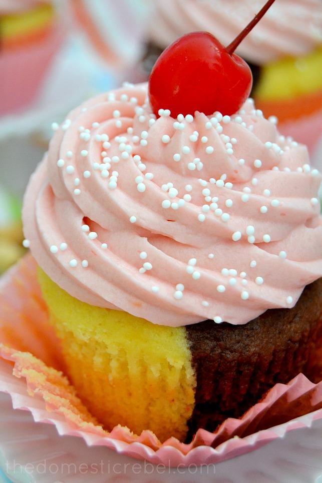 Neapolitan Cupcake close-up to show detail