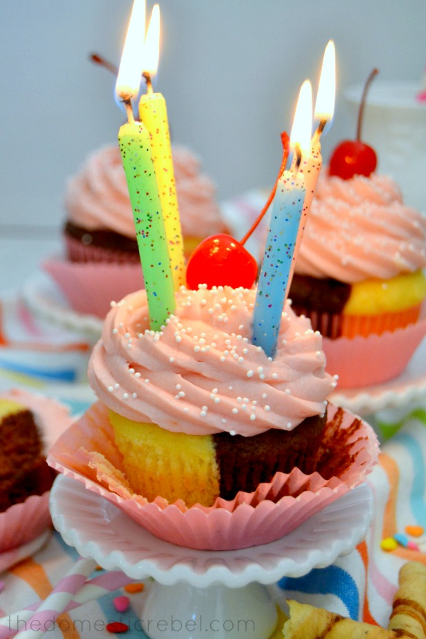 Neapolitan Cupcake with candles lit