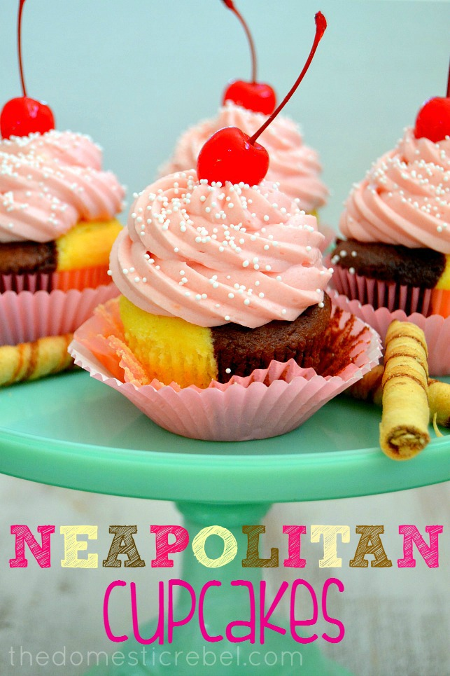 Neapolitan Cupcakes arranged on green cake plate with cookies