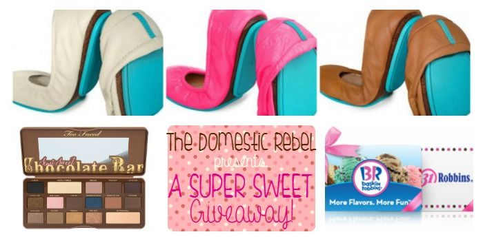 Rebel Giveaway collage with ballet flats, makeup and gift card images