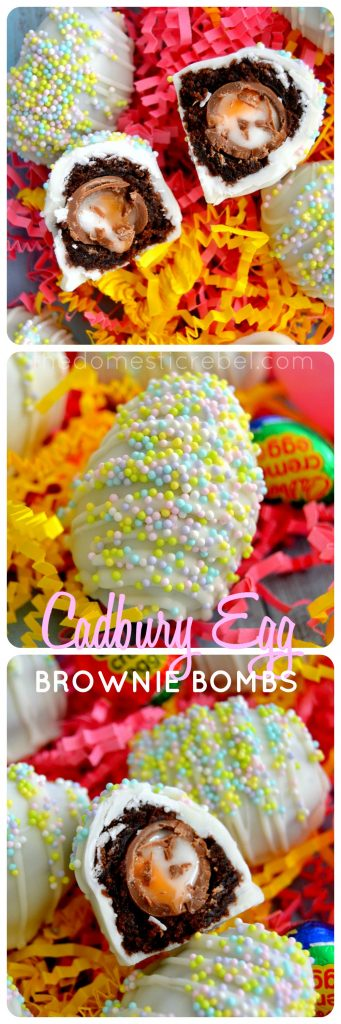cadbury creme egg brownie bombs photo collage