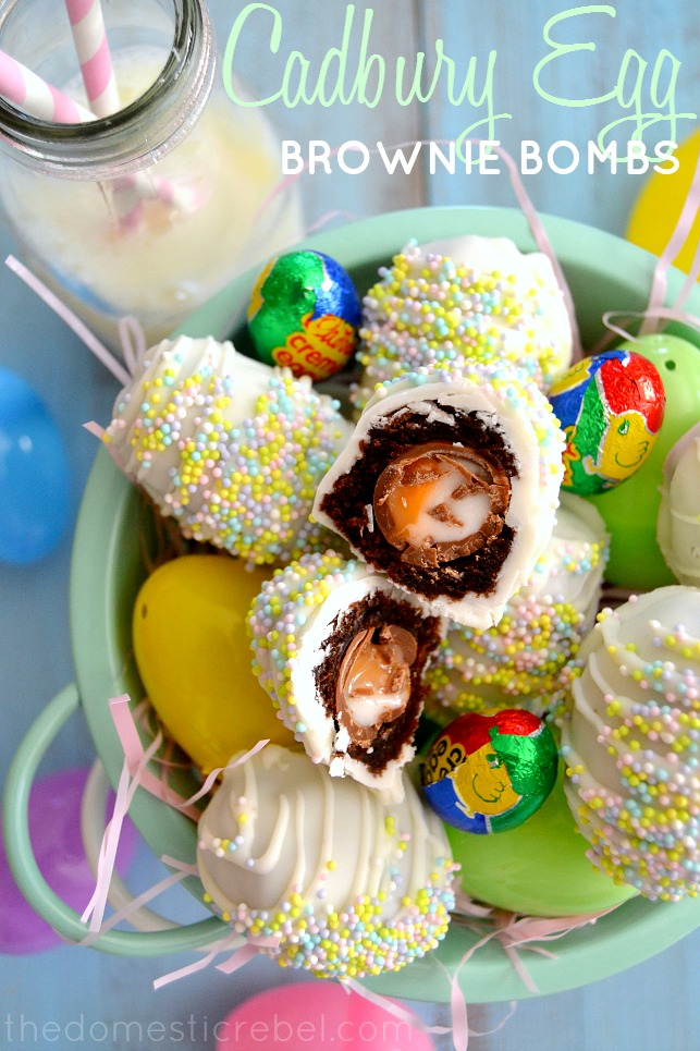 cadbury creme egg brownie bombs arranged in mint basket with candy eggs and milk