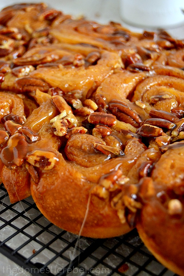 one hour pecan sticky buns on a wire rack