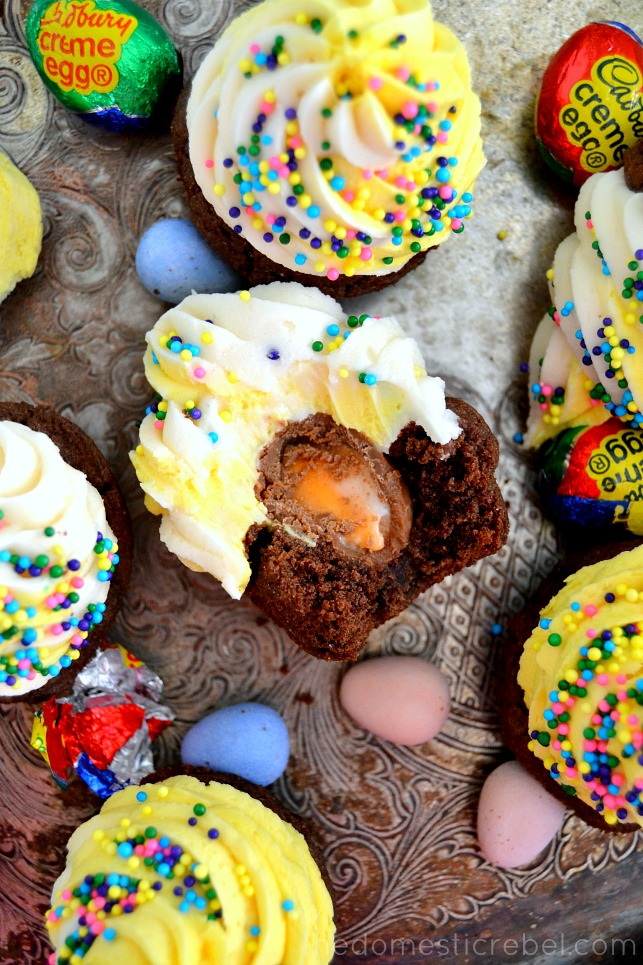 Thick and chewy brownie bites filled with Cadbury Creme Eggs and topped with a luscious, sweet & fluffy vanilla buttercream. The perfect sweet treat for Easter!