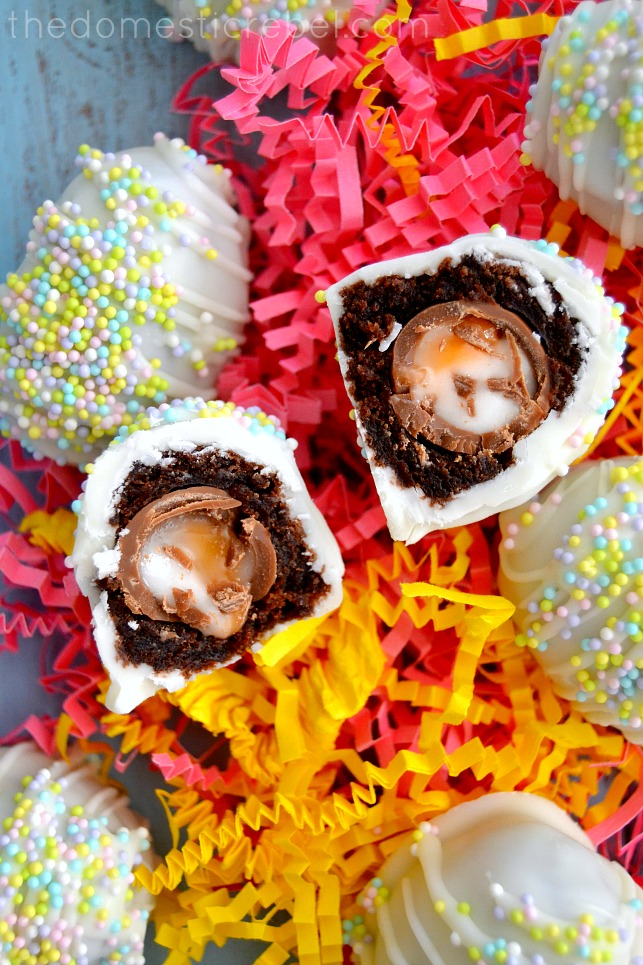 closeup interior shot of cadbury egg brownie bombs on paper shreds