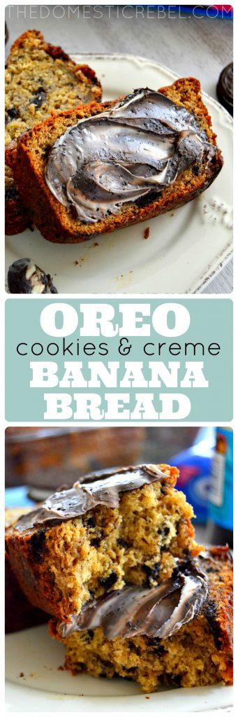 oreo cookies & cream banana bread collage