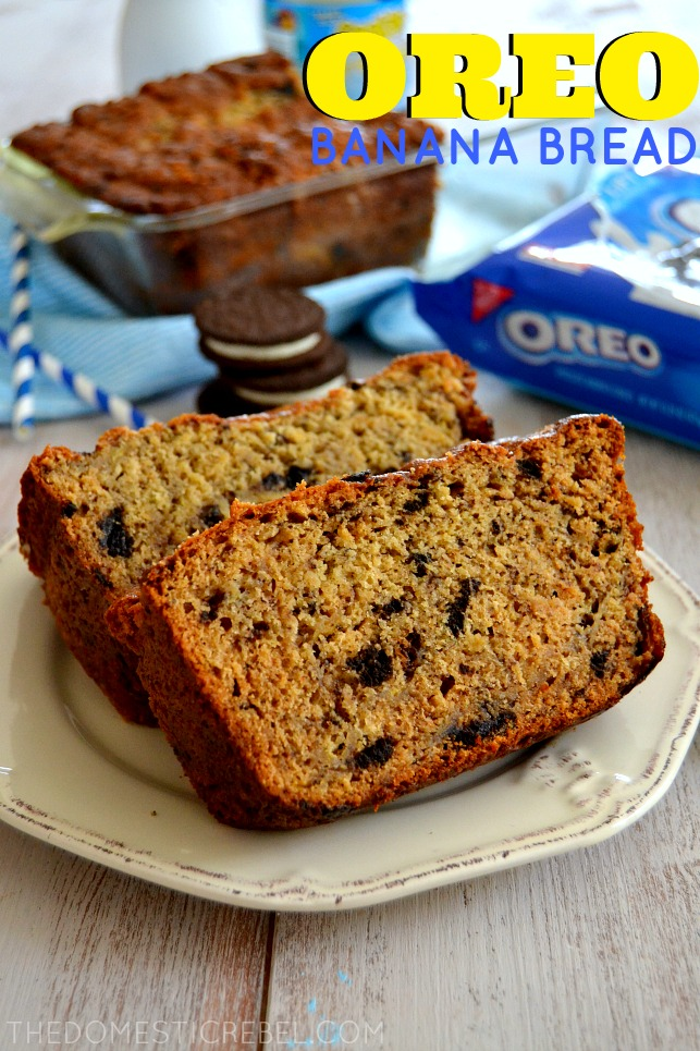 This Oreo Cookies & Creme Banana Bread is a delightful combination of moist, rich banana bread and chopped Oreo Cookies for a fun twist on a classic!