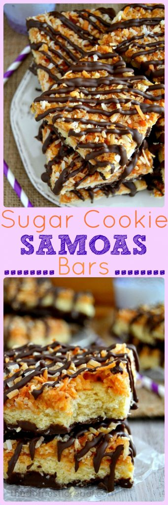 Sugar Cookie Samoas Bars - thick and chewy sugar cookie bars topped with rich, buttery caramel and toasted coconut, then drizzled with milk chocolate! Just like a Samoas Girl Scout Cookie!