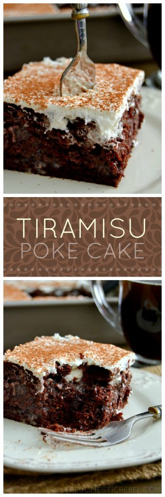 tiramisu poke cake collage