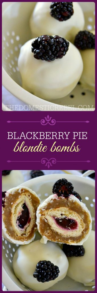 These Blackberry Pie Blondie Bombs are the bomb! Brown sugary blondies are wrapped around bits of blackberry pie and coated in rich white chocolate. The ultimate spring and summertime treat!