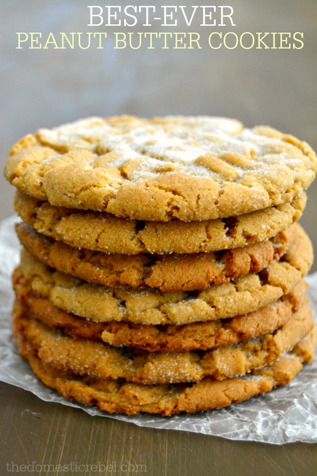 best ever peanut butter cookies stacked on wood background