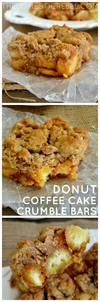 donut coffee cake crumble bars collage