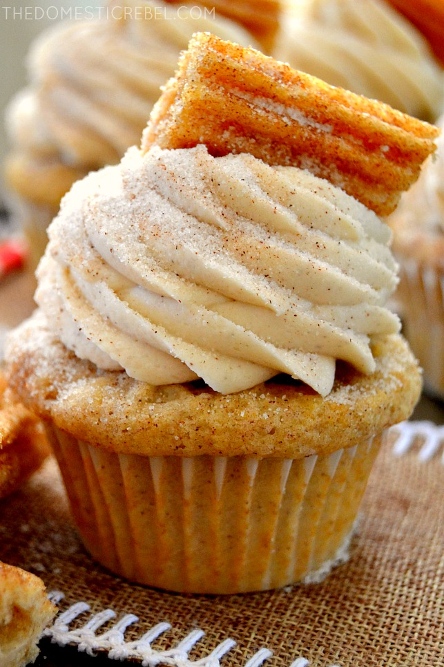 Churro Cupcake up close on burlap fabric