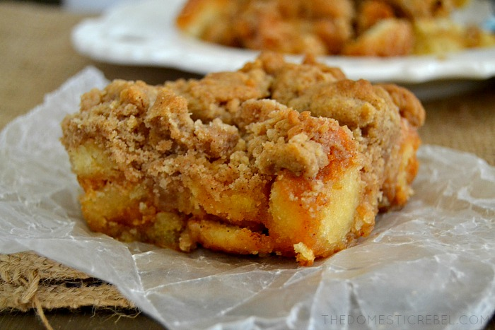 These Donut Coffee Cake Crumble Bars combine fluffy, cakey donuts with crumbly, cinnamon streusel coffee cake in these addictive and comforting bars!