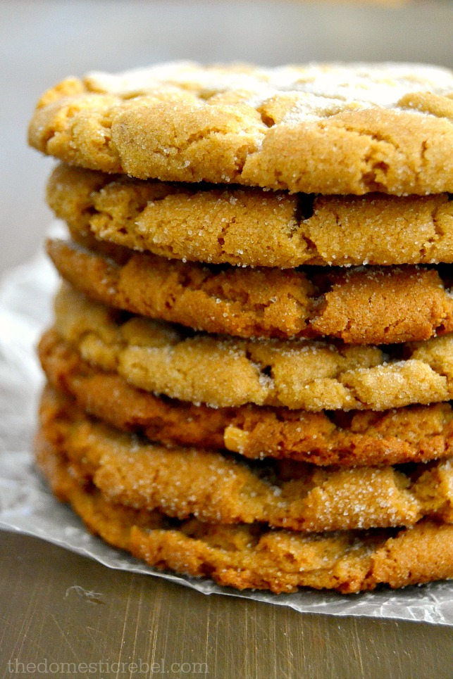 peanut butter cookies stacked on wood
