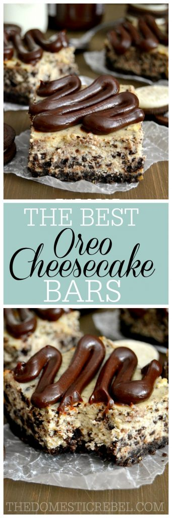 These rich & creamy Oreo Cheesecake Bars really are the BEST! Soft, luscious and bursting with chocolate, they're a cookies & cream lover's dream!