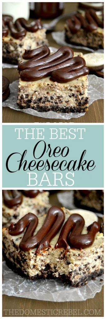 oreo cheesecake bars collage