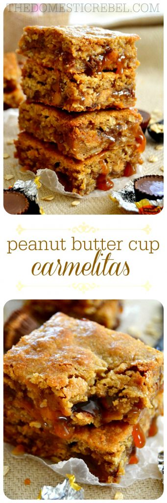 These Peanut Butter Cup Carmelitas consist of a thick and chewy oatmeal cookie base loaded with buttery caramel and sweet & salty peanut butter cups for an outrageous dessert you'll love!