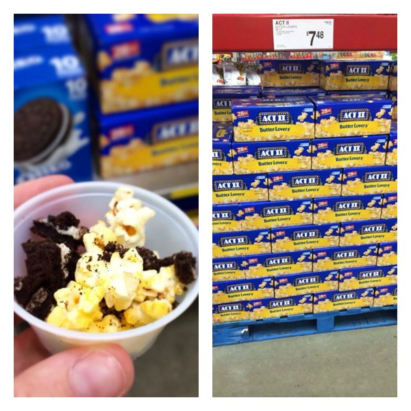 sampling of popcorn and popcorn display in store