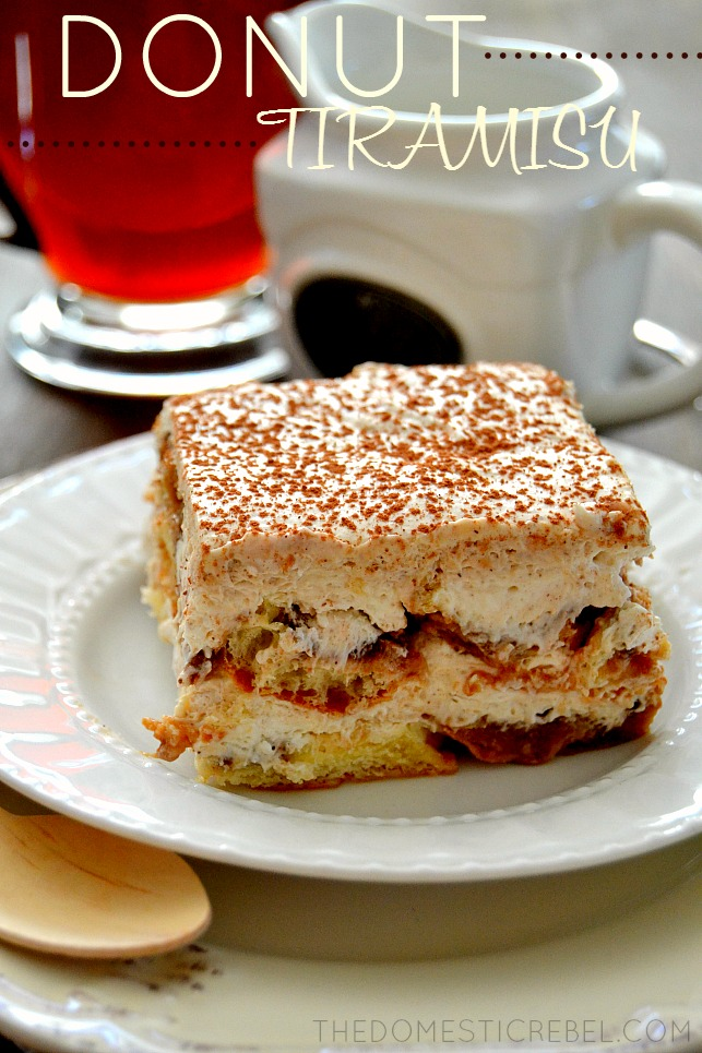 Donut Tiramisu on white plate with coffee in background