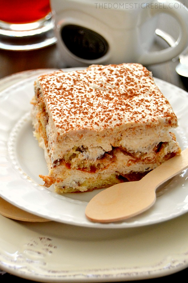 Donut Tiramisu on white plate with a wooden spoon