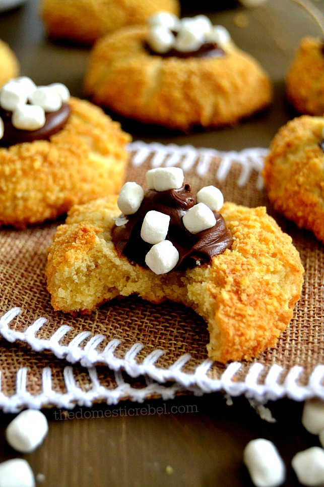 These S'mores Thumbprint Cookies are tender, buttery cookies rolled in sweet graham cracker crumbs, then topped with a miniature mountain of rich chocolate spread and mini marshmallows! This foolproof, small-batch recipe is to-die for!