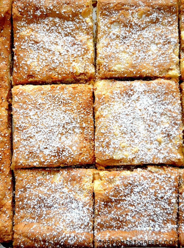 White Chocolate Fluffernutter Bars arranged in a grid