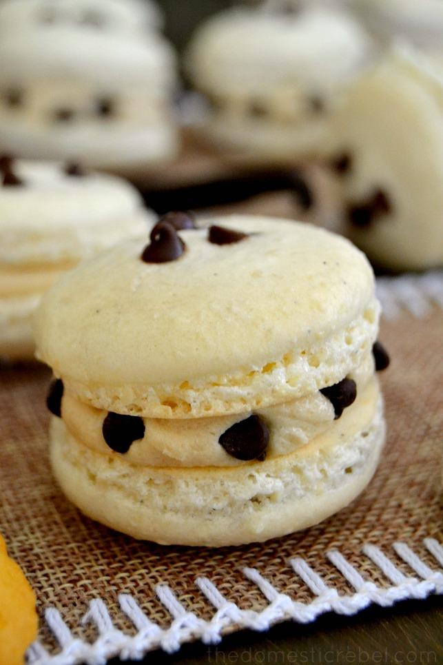 Cookie Dough Macarons on wood
