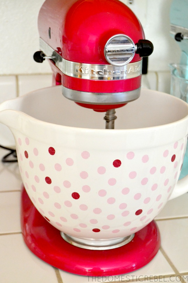 KitchenAid Stand Mixer with polka dot bowl