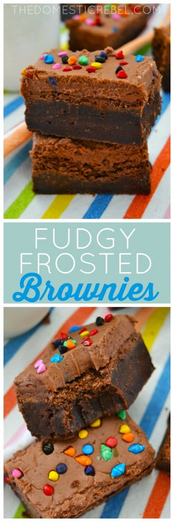 These Fudgy Frosted Brownies are the BEST, fudgiest brownies you'll ever have! Rich and chocolaty, they're like fudge with chocolate frosting on top!