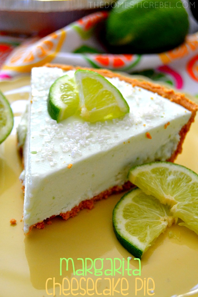 Margarita Cheesecake Pie on green plate with lime slices